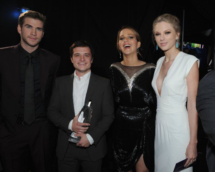 Liam Hemsworth, Josh Hutcherson, Jennifer Lawrence, and Taylor Swift at the 39th Annual People's Choice Awards