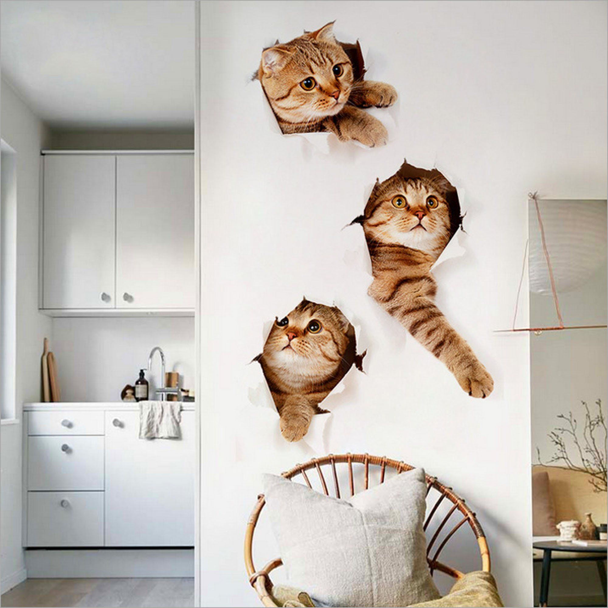 3d Wall Decals Stickers Vivid Decors Murals Cat Easy To Peel Easy