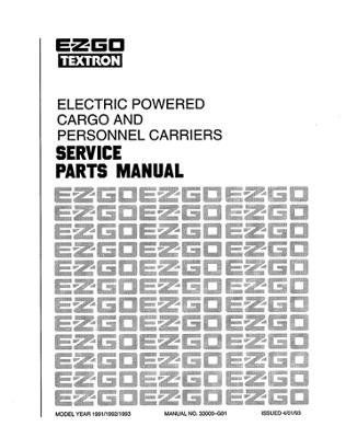 EZGO 33000G01 1991 1993 Service Parts Manual For Electric