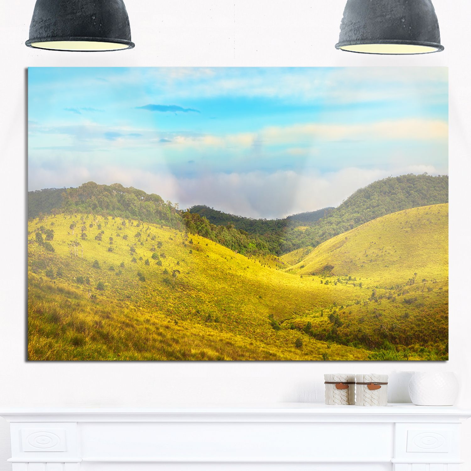 Horton Plains under Sky - Oversized Landscape Glossy Metal Wall Art ...