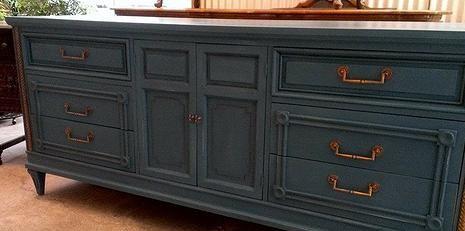Chalk Paint By Annie Sloan Aubusson Blue With Dark Wax By The Owl Box Bathroom Vanity Decor Diy Bathroom Vanity Annie Sloan Painted Furniture