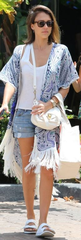 Jessica Alba: Sunglasses – Ray Ban  Purse – Proenza Schouler  Shorts – Fidelity  Shoes – Birkenstock