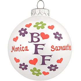Personalized BFF Glass Ornament - 1145092 - $9.99 #personalized #BFF #ornament #Christmas #friend #bestfriend #bestfriendsforever #BronnersChristmasWonderland #Bronners