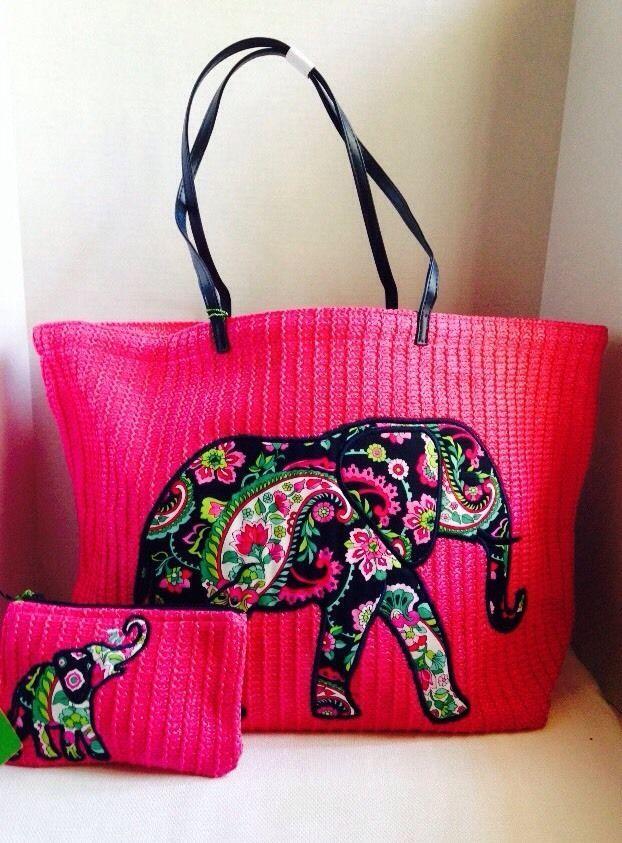 NWT Vera Bradley Pink Elephant Petal Paisley Seashore Tote & Zip ...