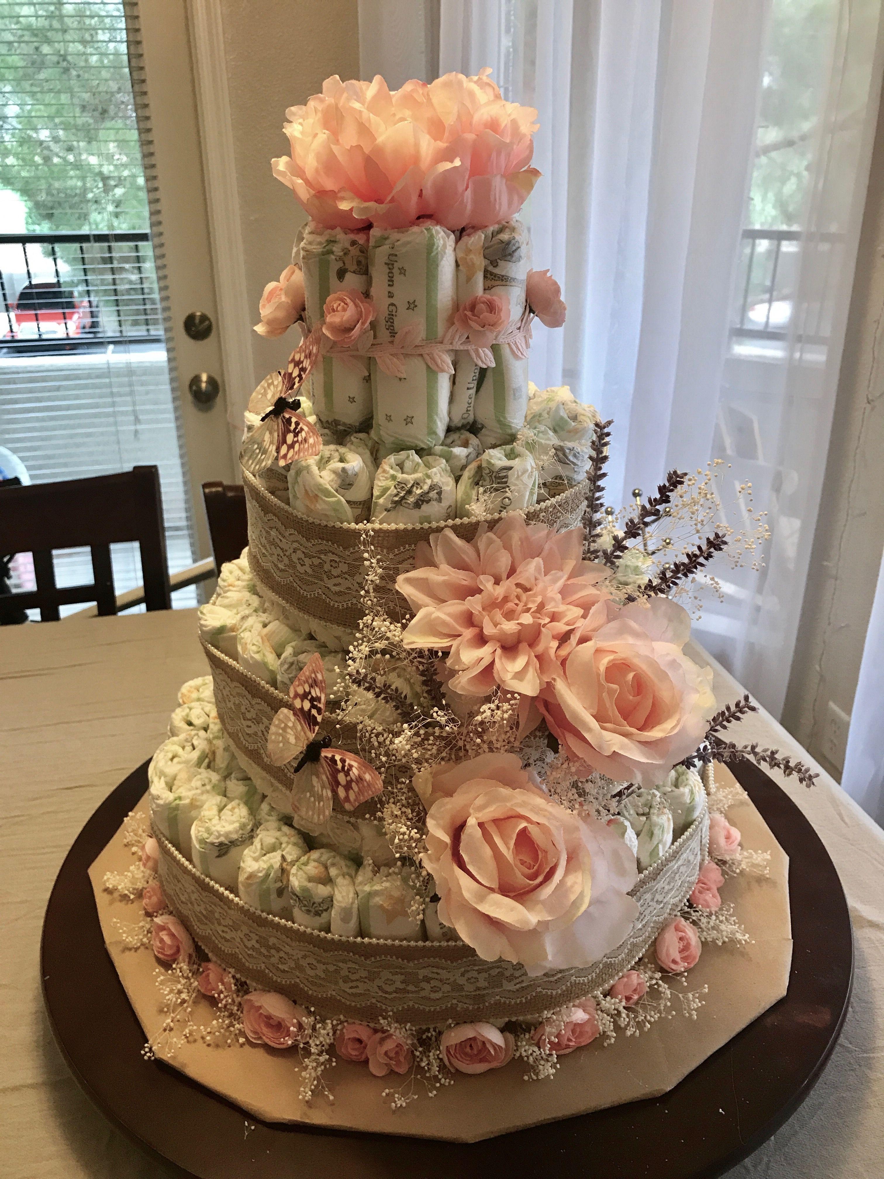 diaper cake rustic pink roses lavender baby 39 s breathe. Black Bedroom Furniture Sets. Home Design Ideas