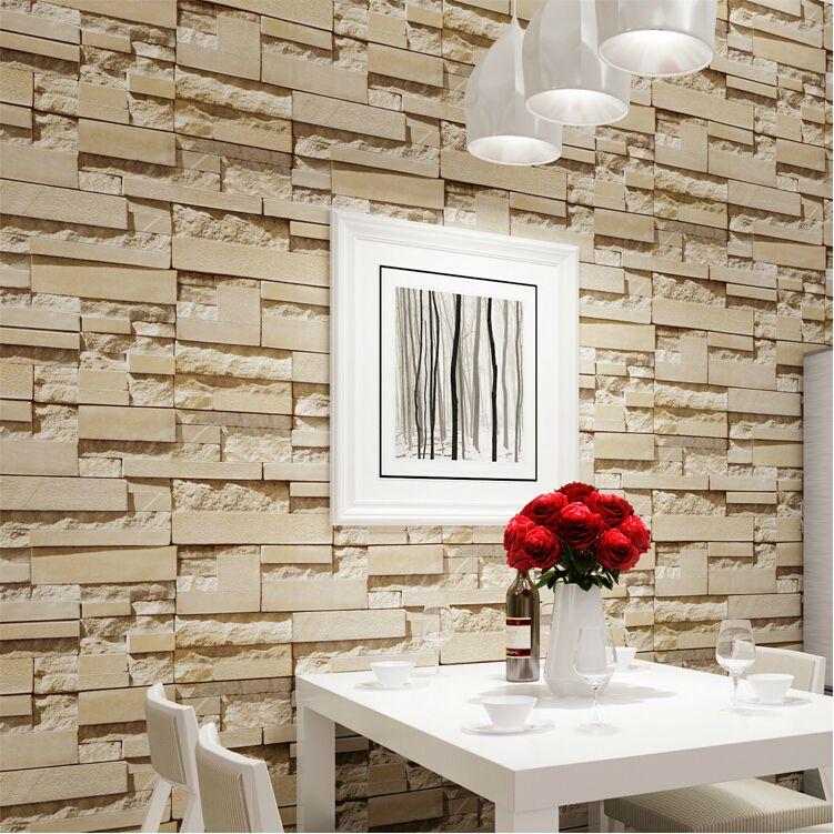 Wall paper luxury stone brick wall vinyl wallpaper roll papel de parede 3d living room background