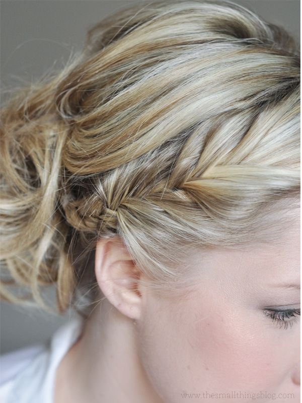 French fishtail braid and messy bun. Click on the photo for the video tutorial.