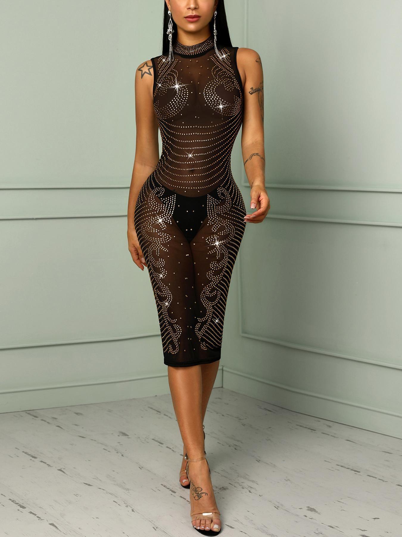 63dc9b5a90ef Shiny Hot Drilling See Through Bodycon Dress #ChicMe:dress fashion Women's  Fashion Online Shopping Chic Me Reviews |women Read Customer Service  #Reviews ...