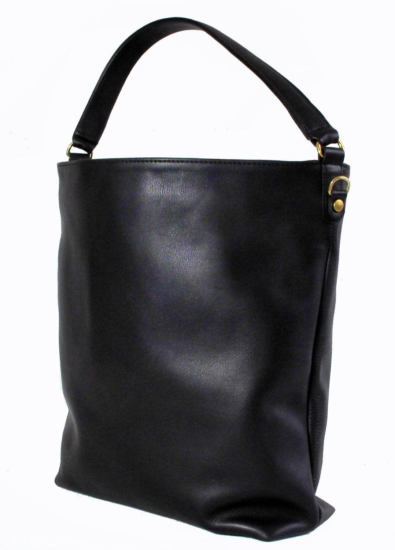 MINIMAL Black Leather Tote by MISOUI