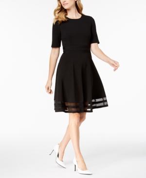 ce69b133 Calvin Klein Elbow-Sleeve Illusion-Detail Dress, Regular & Petite - Black  12P