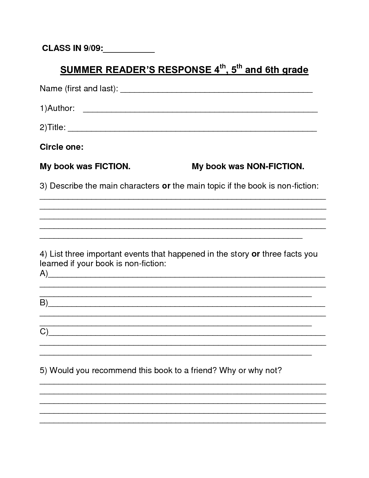 Book Report Template  Summer Book Report Th Th Grade