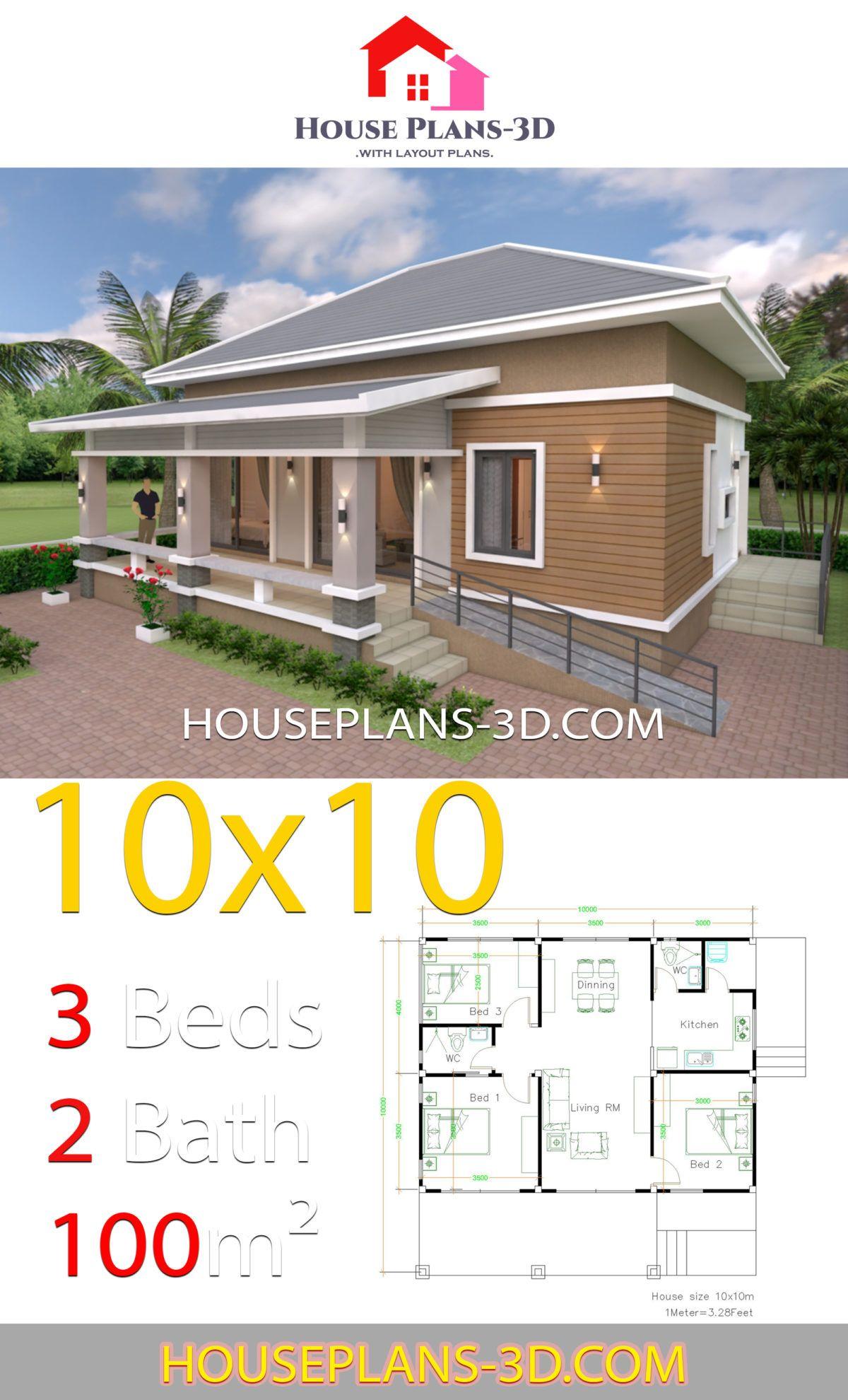 10x10 Bedroom Plans: House Design 10x10 With 3 Bedrooms Hip Roof En 2020 (avec