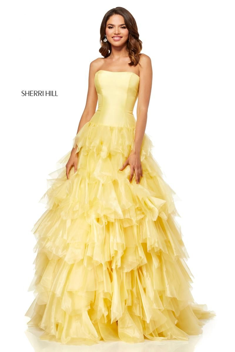 f5063824ae2b Style 52417 from Sherri Hill is a strapless prom gown with a tiered ruffle  skirt.