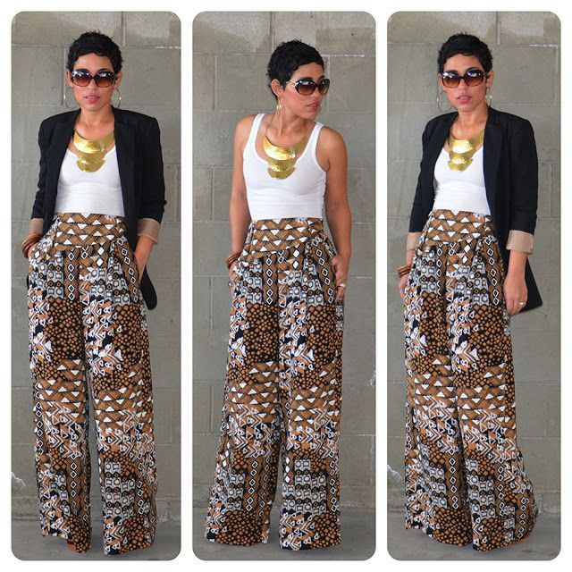 Bold Printed Patterned Palazzo Pants With A Basic White Top Great Impressive Patterned Flowy Pants