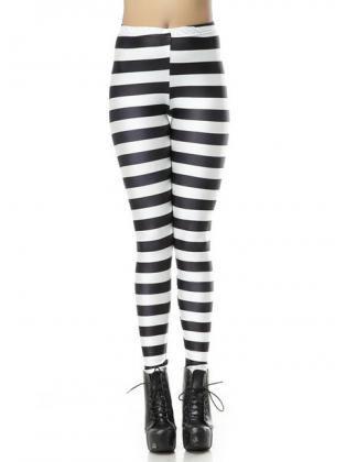 c3382ccacde59 Two Tone Pattern Horizontal Striped Leggings Black and White ...
