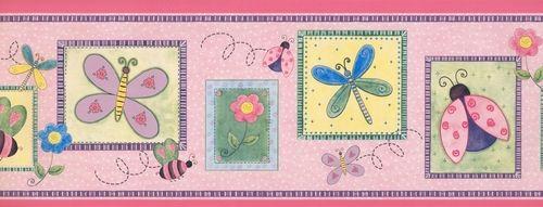Stylized Bee Butterfly Flower Kids WK9102B Wallpaper
