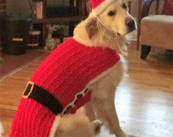 dog santa suit santa dog sweater dog santa outfit christmas dog sweater - Large Dog Christmas Outfits