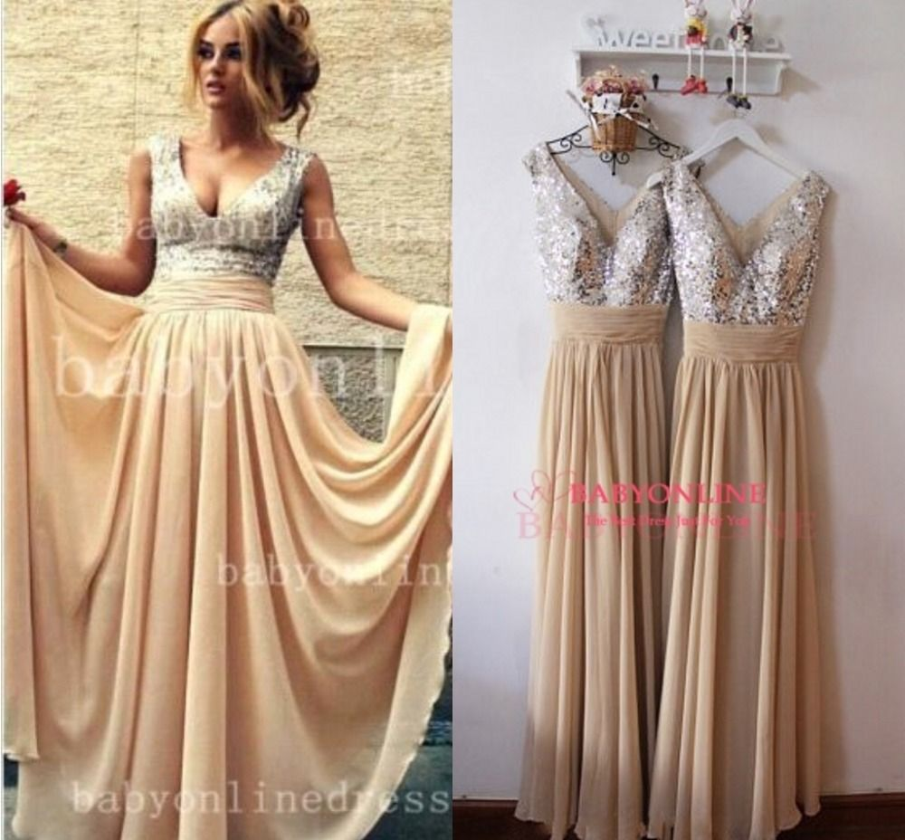 Real Sample Prom Dresses New style V Neck Sequine Long Chiffon ...