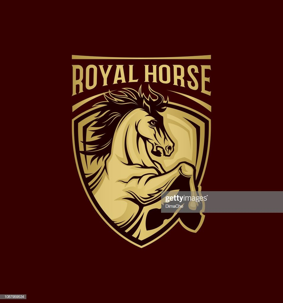 Royal Horse Symbol On Shield Vector Emblem With Changeable Text