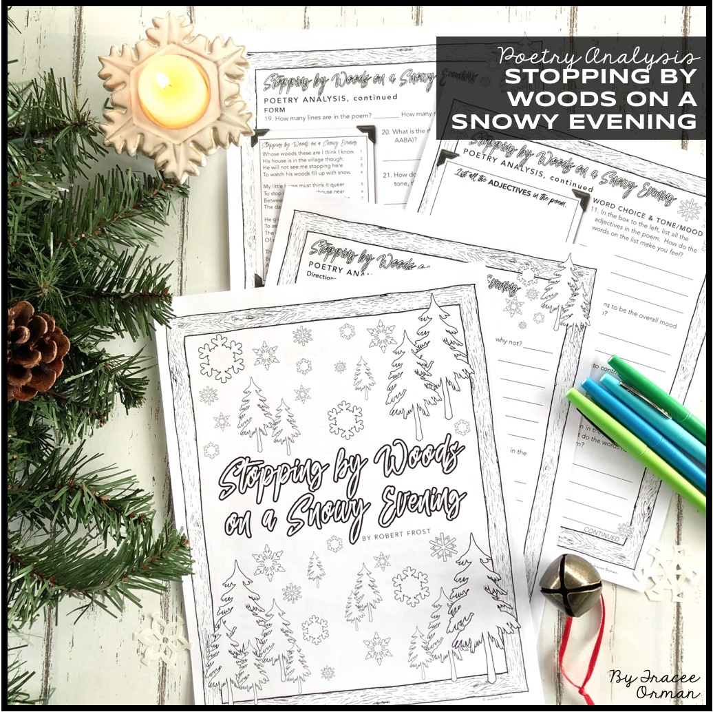 Poetry Analysi Stopping By Wood Robert Frost Middle School English Language Art Poems On A Snowy Evening Paraphrase
