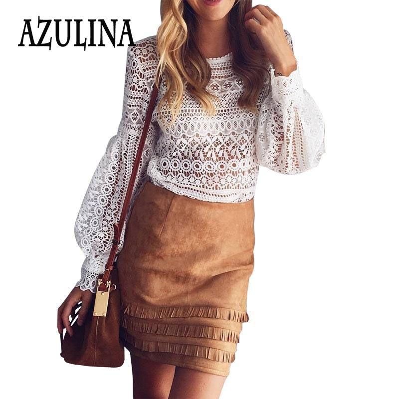 AZULINA 섹시한 화이트 레이스 중공 크로 셰 최고 2016 가을 여성 블라우스 셔츠 긴 소매 캐주얼 우아한 꽃 Blusas 팜므