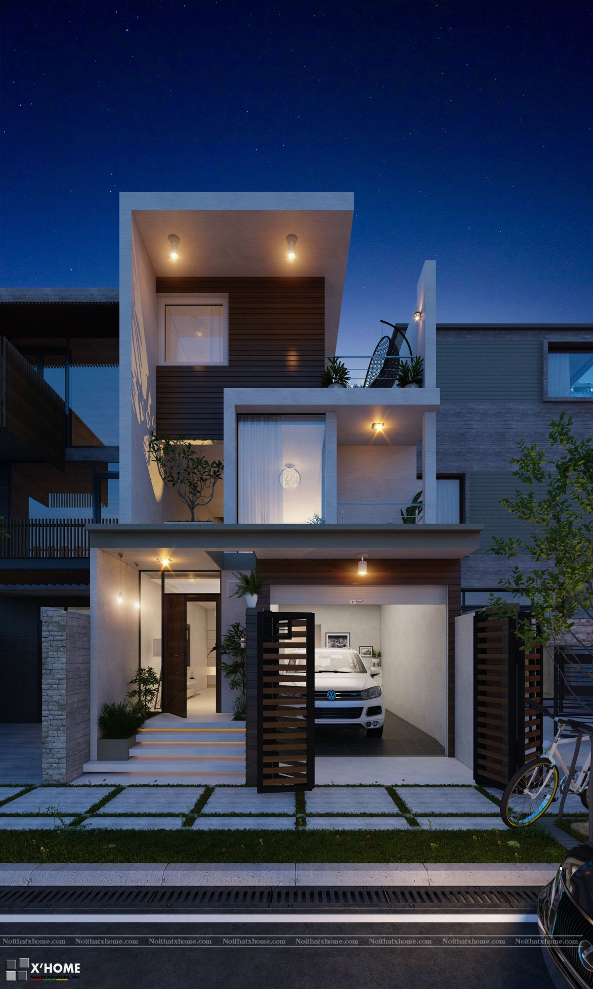 50 Narrow Lot Houses That Transform A Skinny Exterior Into Something Special Narrow House Designs Row House Design 3 Storey House Design
