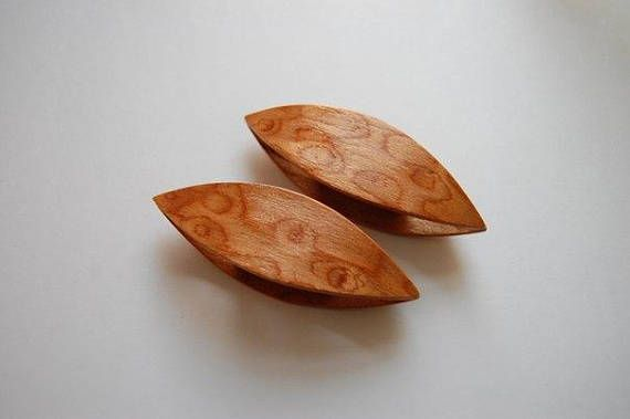 A Pair of Wooden Tatting Shuttles Hand Made in Madrona Root