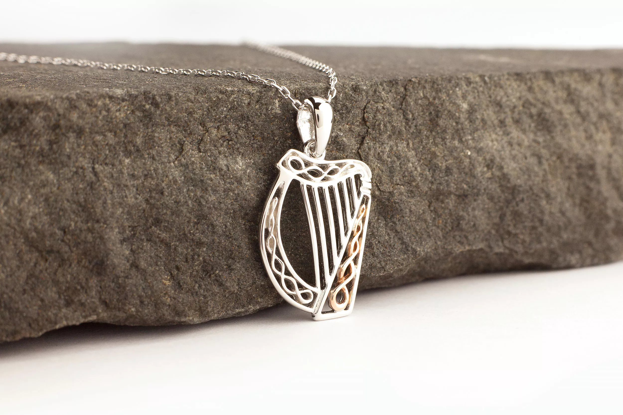 Sterling Silver And Irish Rose Gold Harp Pendant Silver
