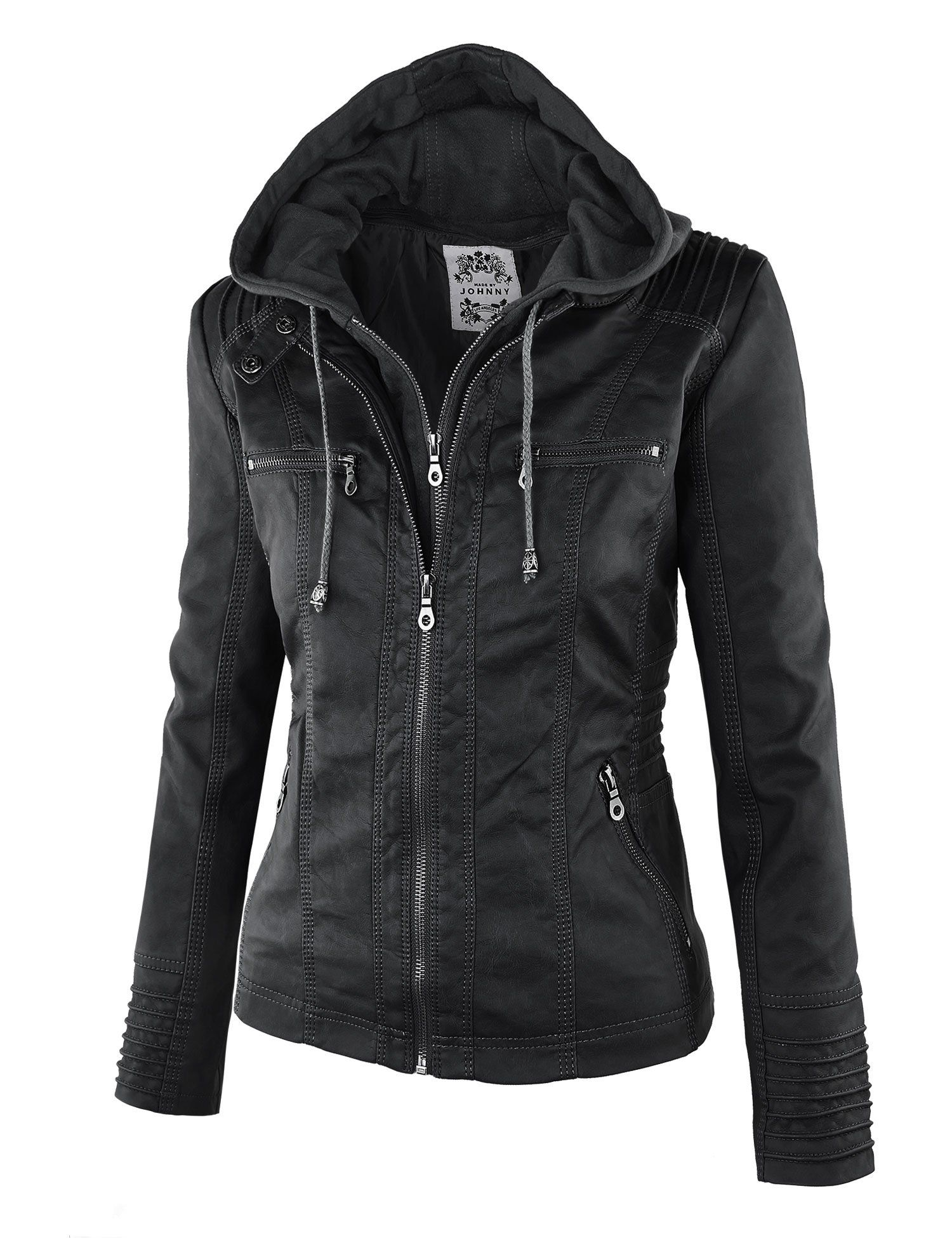 Leather jacket damage - Ll Womens 2 For One Hooded Faux Leather Jacket At Amazon Women S Coats Shop