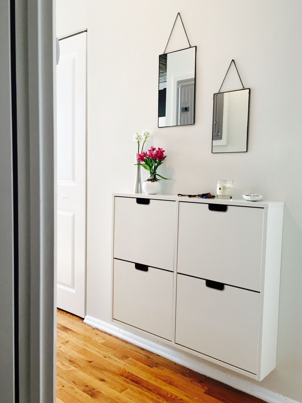 My New Home Entryway Ikea Shoe Holder Canvas Home Mirrors Deco Maison Meuble Entree Idee Deco Bricolage