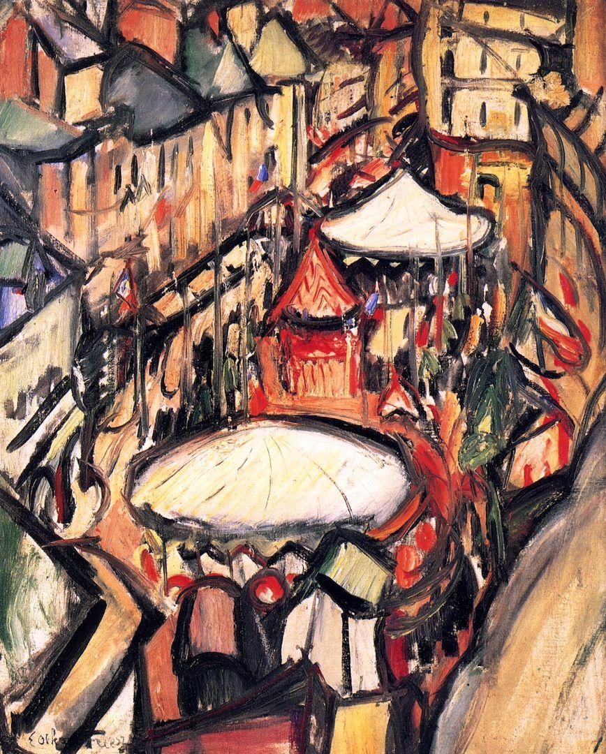 """lawrenceleemagnuson: """"Emile-Othon Friesz (1879-1949) The Traveling Fair at Rouen (1905) oil on canvas 65 x 54 cm Musée Fabre, France """""""