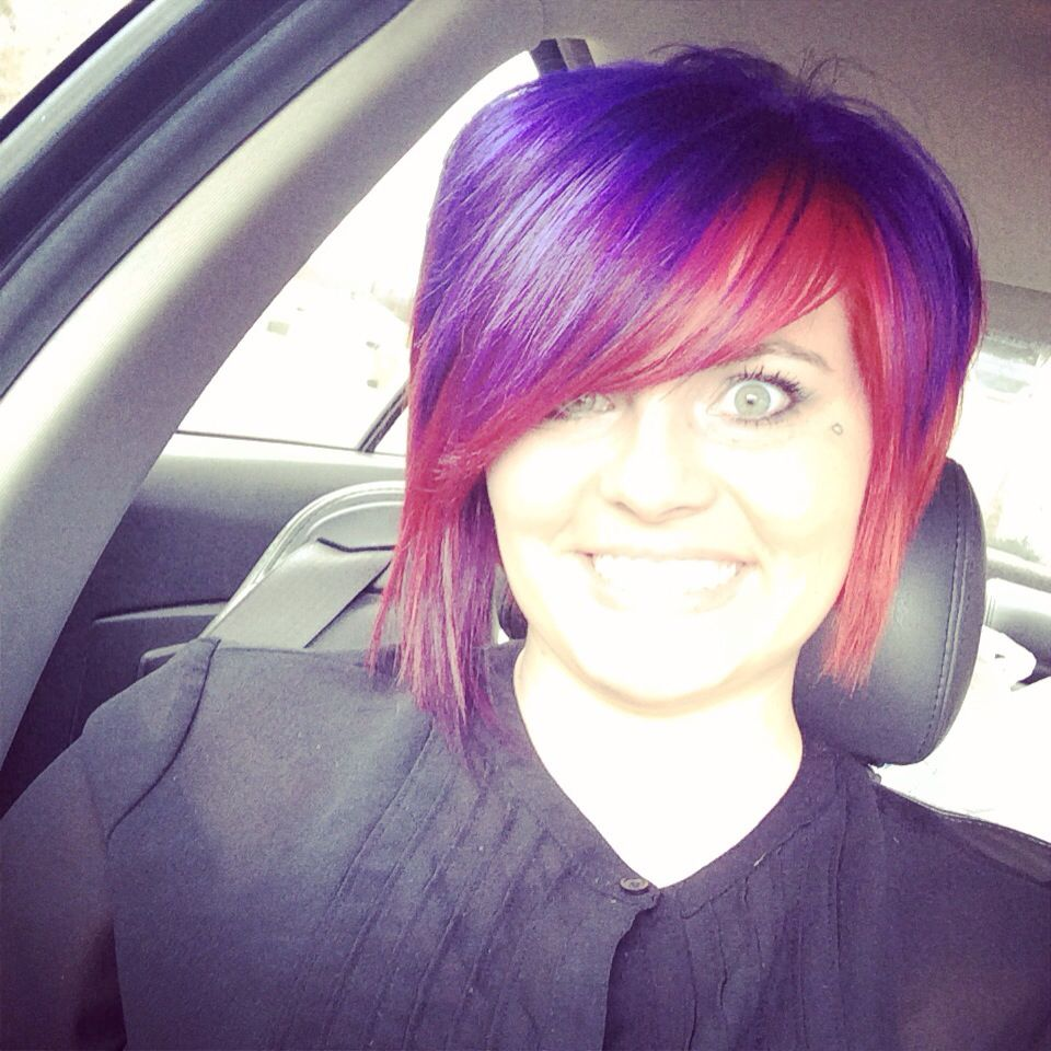Colorful red hair short hair bob haircut purple hair