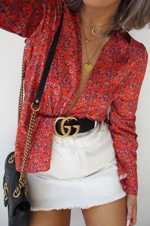 Gucci belt, Gucci bag, floral shirt and white denim skirt #StreetStyle #fashiondetails #details