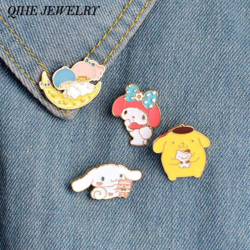 Qihe Jewelry 4pcs Set Kawaii Bunny Puppy My Melody Enamel Pins Collar Hat Lapel Pin Japanese Cartoon Jewelry Bunny Jewelry Kawaii Bunny My Melody Enamel Pins