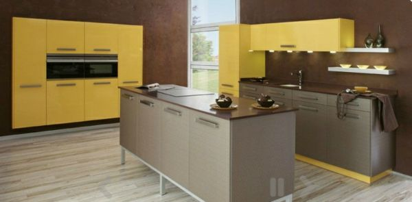 20 moderne Kücheninsel Designs - gelb modern küchen insel design - moderne kuche