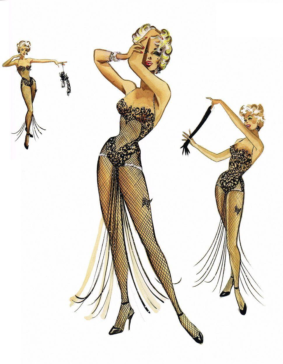 Travilla Fashion Illustration Vintage Hollywood Costume