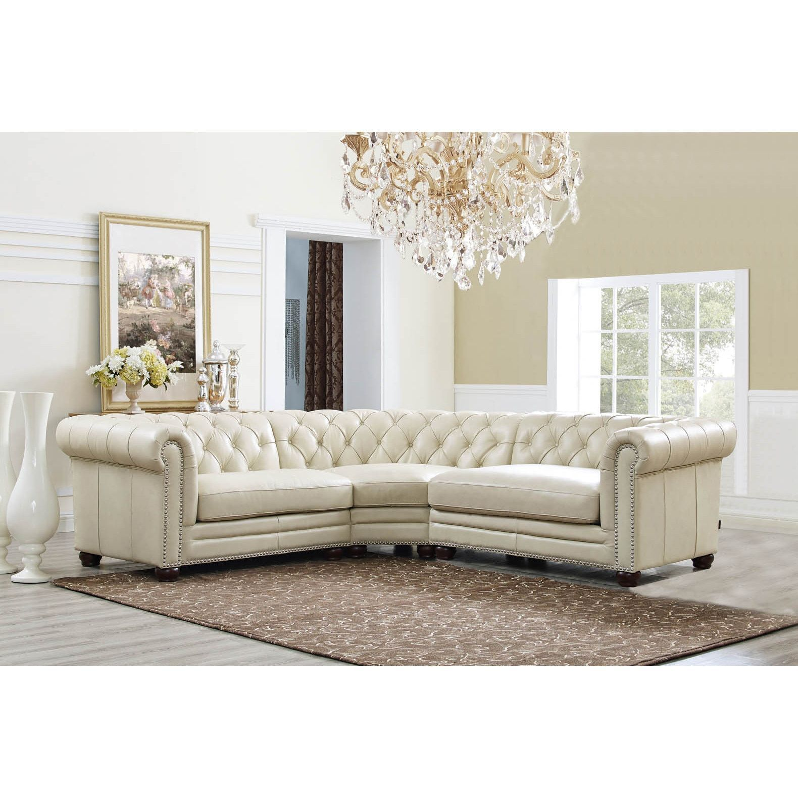 Hydeline By Amax Nicholson Top Grain Leather Button Tufted Nailhead Trim  Sectional Sofa, 3 Pieces (Color), Ivory Cream