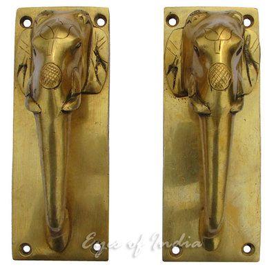 2 ndian elephant brass door handles pulls ethnic vintage india