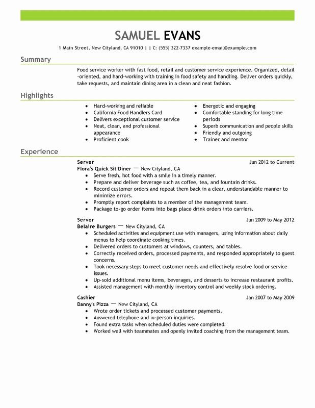 Servers Resume Job Description Unique Server Job Description Pdf Fast Food Server Food And Restaura In 2020 Server Resume Good Resume Examples Resume Template Examples