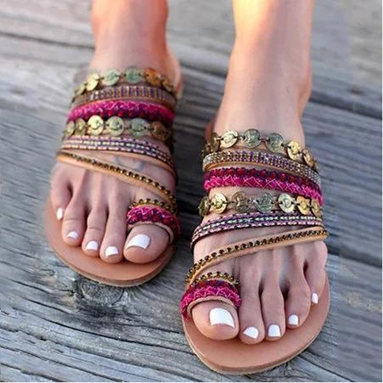 WOMENS SUMMER STUDDED PARTY BEACH HOLIDAY FLAT COMFY SANDALS LADIES SHOES SIZE