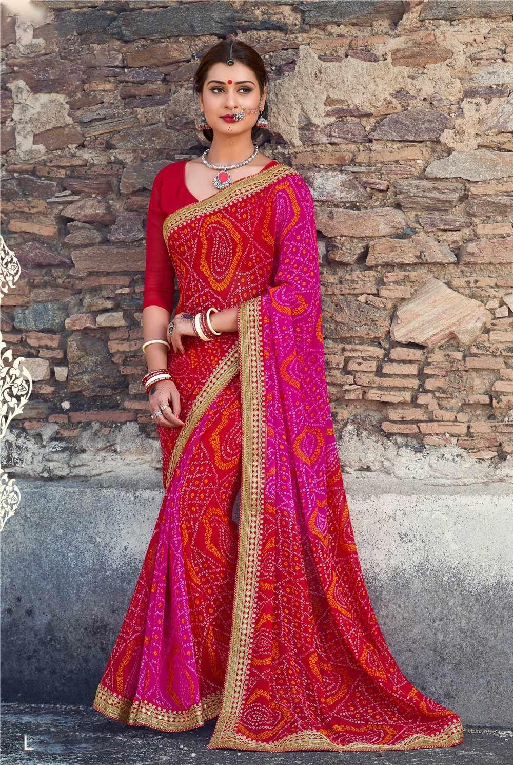 8e706f3ec5 red bandhani saree | Bandhani Saris in 2019 | Saree, Bandhani saree ...