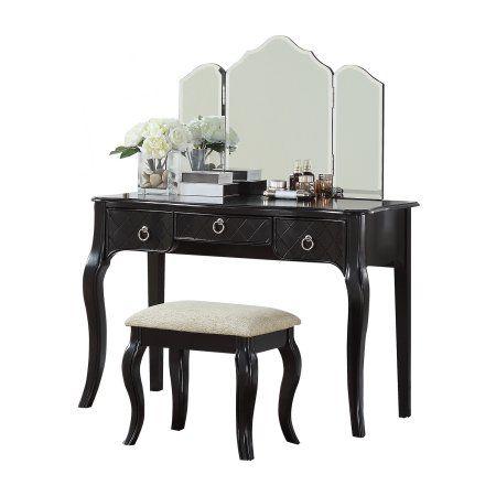 Surprising Bobkona Vanity Table With Stool Set In Galaxy Black Bralicious Painted Fabric Chair Ideas Braliciousco