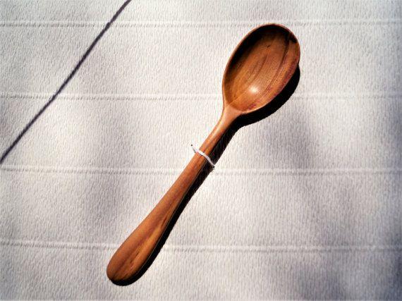 Hand carved plum wood eating spoon handmade wooden kitchen utensils