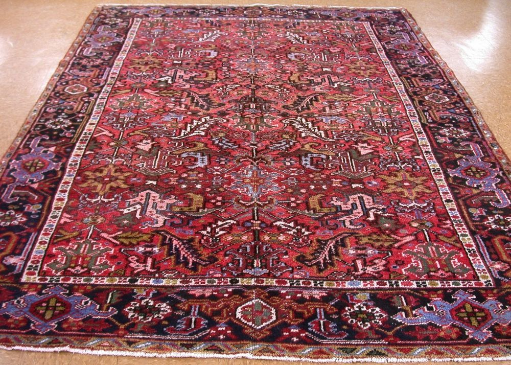 8 X 10 Antique Persian Heriz Serapi Tribal Hand Knotted Wool Red