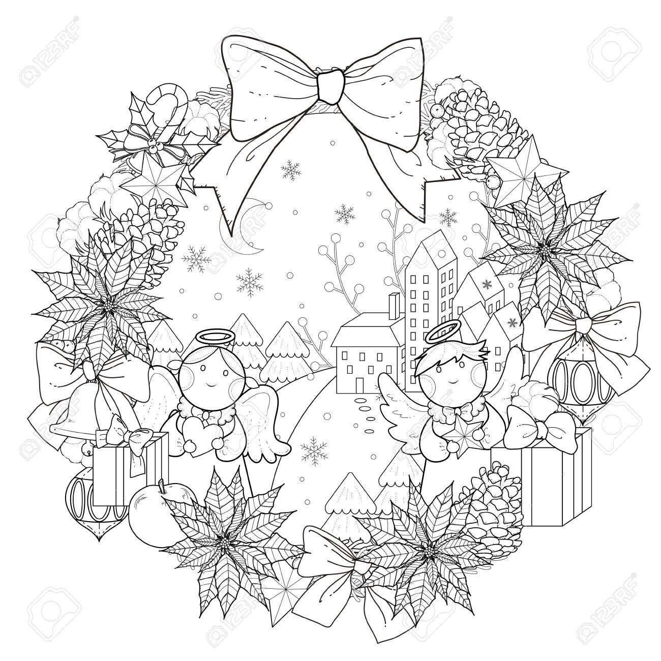 Christmas wreath coloring page with decorations in