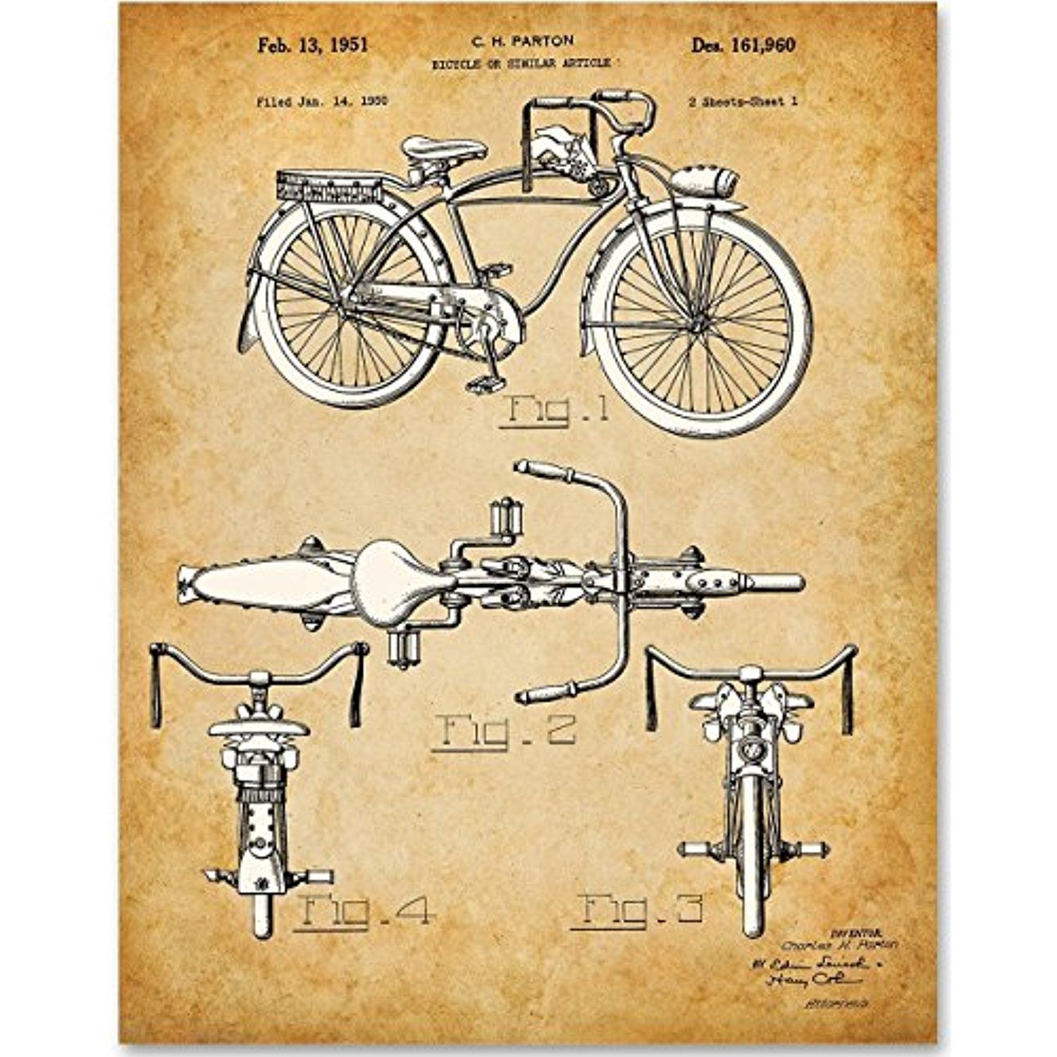 Schwinn Bicycle - 11x14 Unframed Patent Print - Great Gift for ...