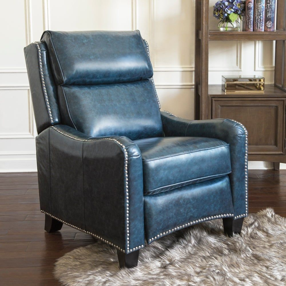 Abbyson Oliver Navy Top Grain Leather Pushback Recliner in