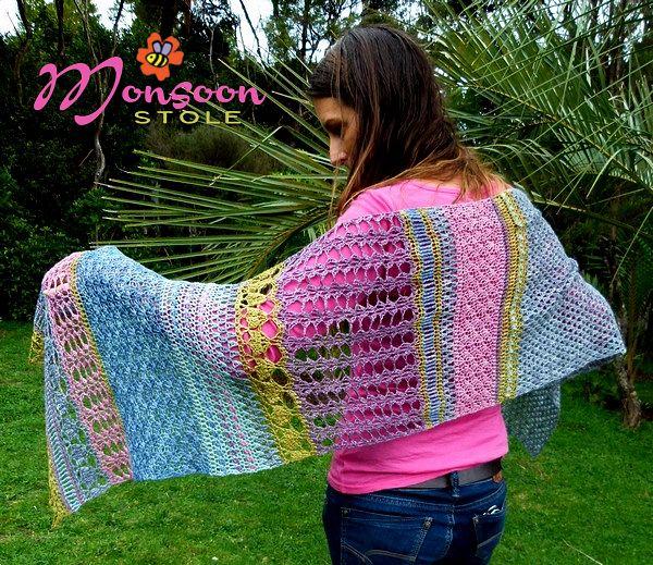 Crochet wrap pattern from The Little Bee - Monsoon Stole https://www ...