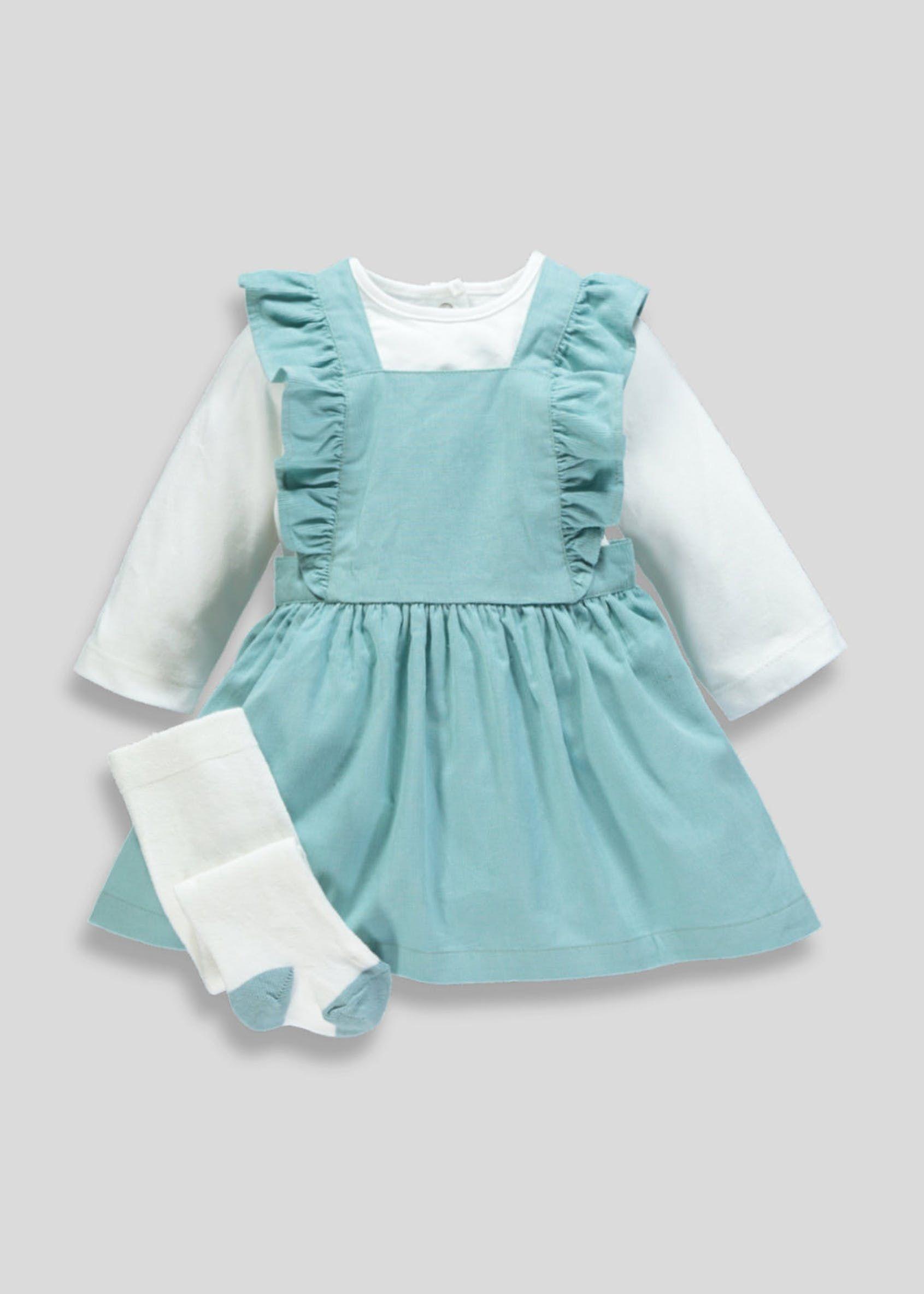 341da4e0b135a Girls Cord Pinafore Set (Newborn-18mths) Cream Tights, Matalan, Pinafore  Dress
