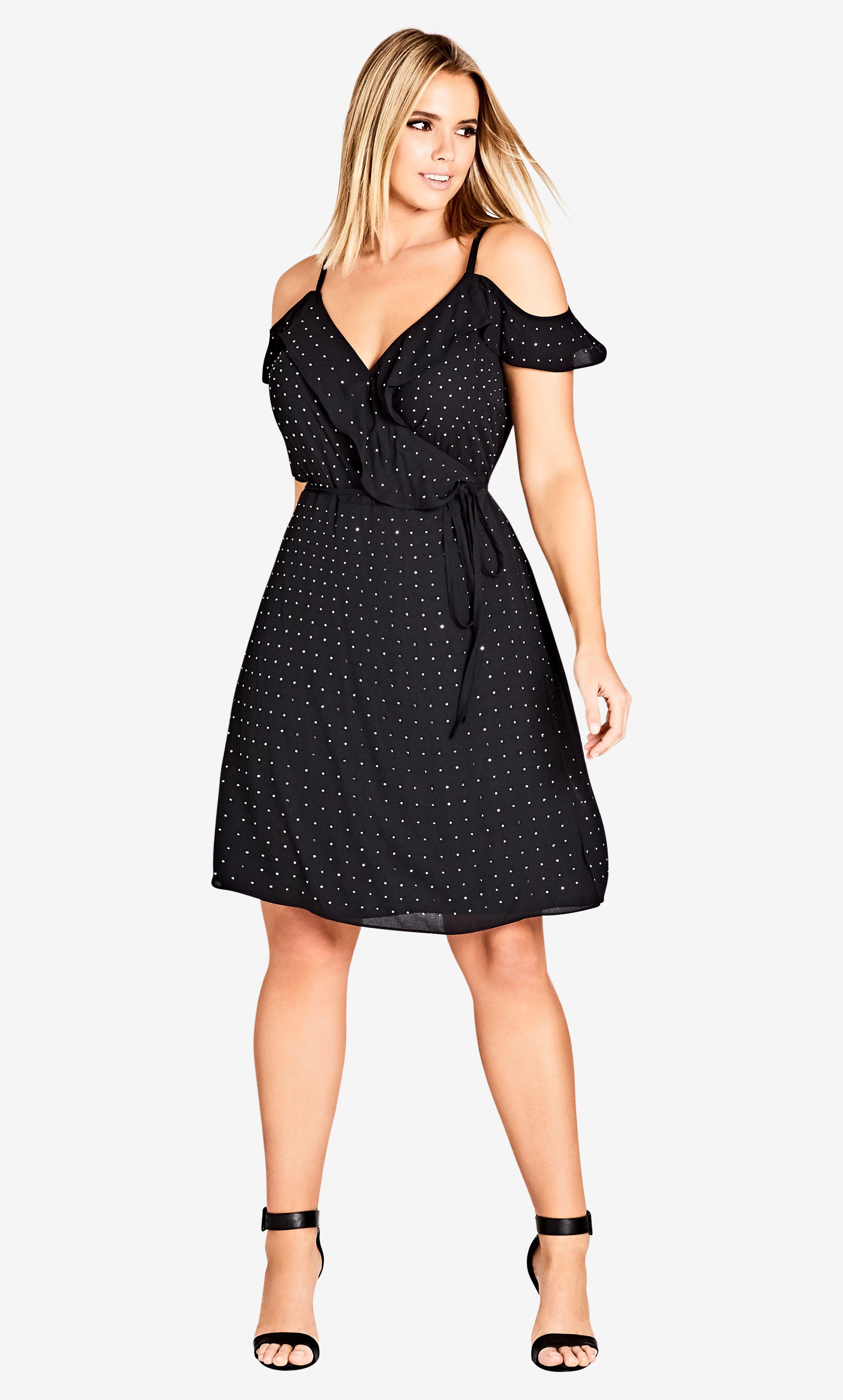 Black flirty bling wrap dress evening dresses plus size